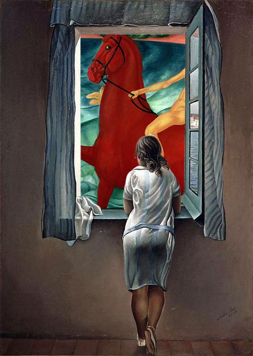 Картинка с окном и лошадью.